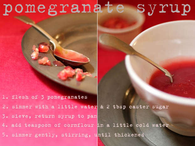 pomegranate pannacotta with syrup
