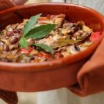 Autumn rabbit with bay, mushrooms & olives