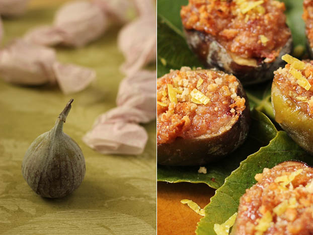 Roasted figs with balsamic vinegar and Amaretti biscuits