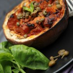 Aubergine stuffed with tuna caponata