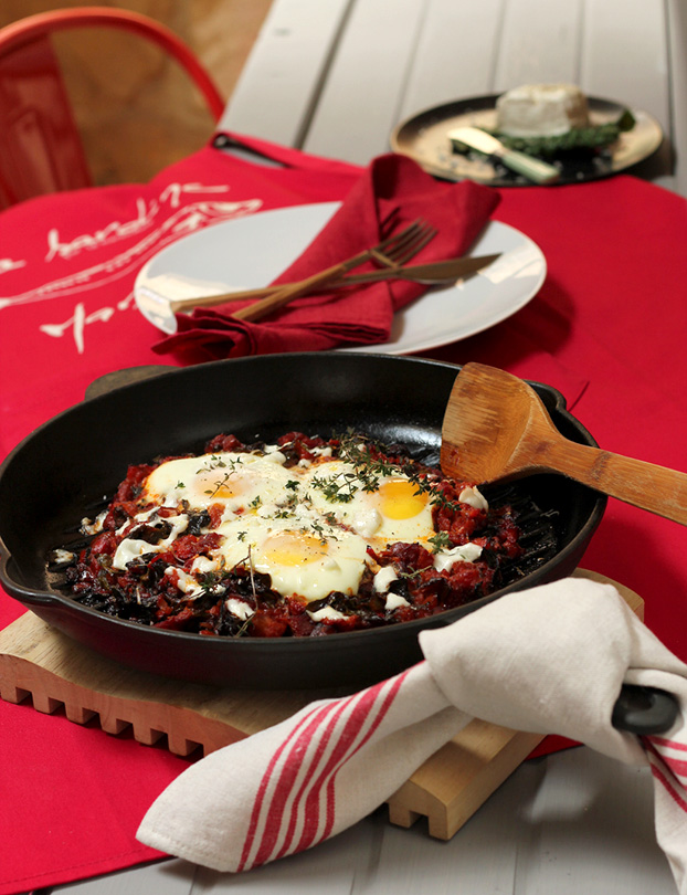 Chard and eggs 'florentine' for breakfast
