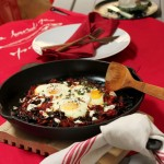 Oeufs Maltese with Swiss chard & goat cheese