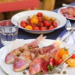 'Triglia alla griglia': red mullet in pancetta with orange & caper salad
