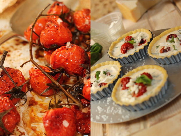 Cherry tomato and feta tartlettes
