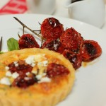 Tricolore tartelettes with balsamic roast cherry tomatoes, feta & basil