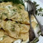 Ravioli with wild fennel, ricotta & crisped pancetta