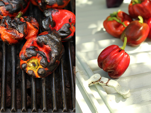 char grilling bell peppers