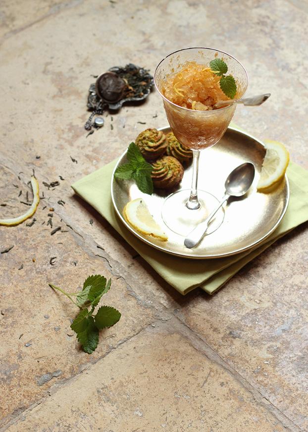 Mint tea & peach granita