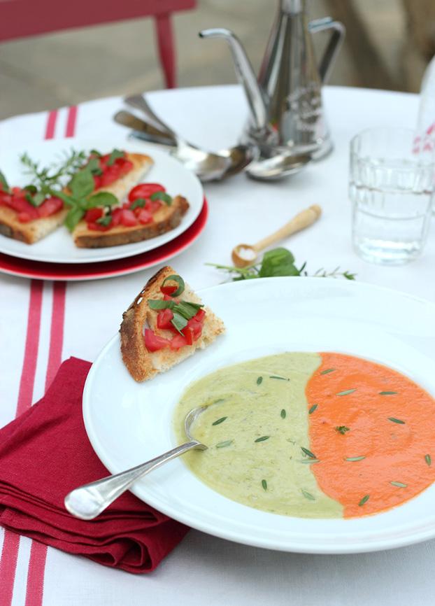 tomato & zucchini soup duo