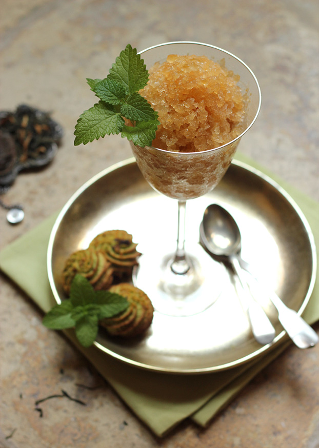 Mint tea and peach granita