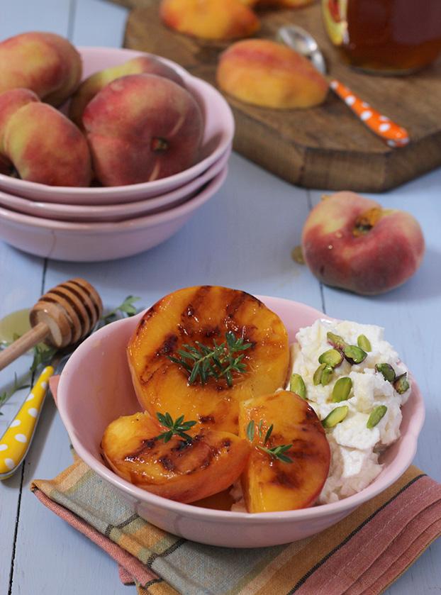 Mediterranean breakfast of peaches and ricotta