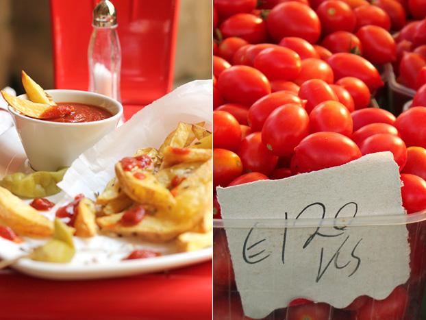tomatoes at a Maltese market