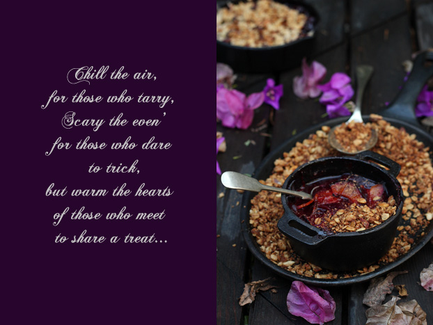 Plum and carob crumble or crisp