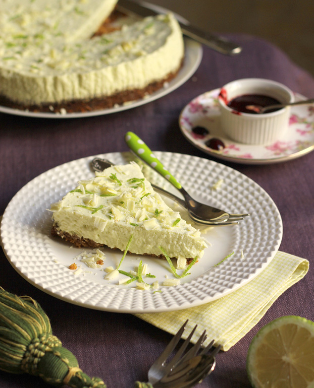 green lemon white choc cheesecake