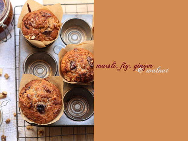 Muffins with muesli, fig & ginger