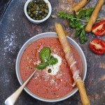 Roast tomato and caper 'gazpacho' soup