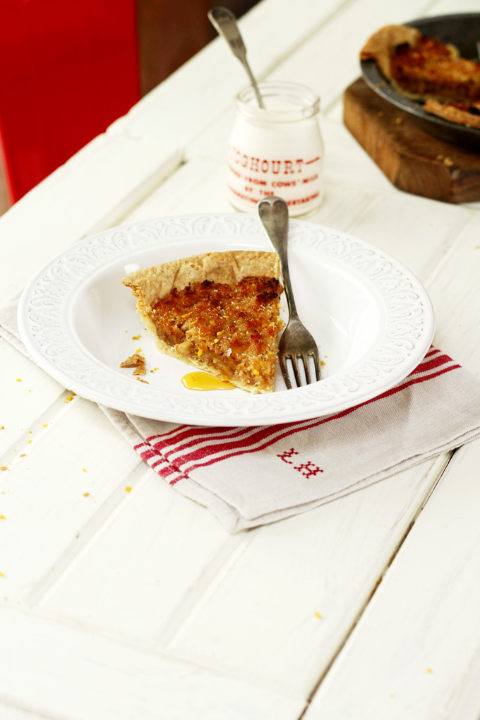 Treacle tart with orange zest & ginger