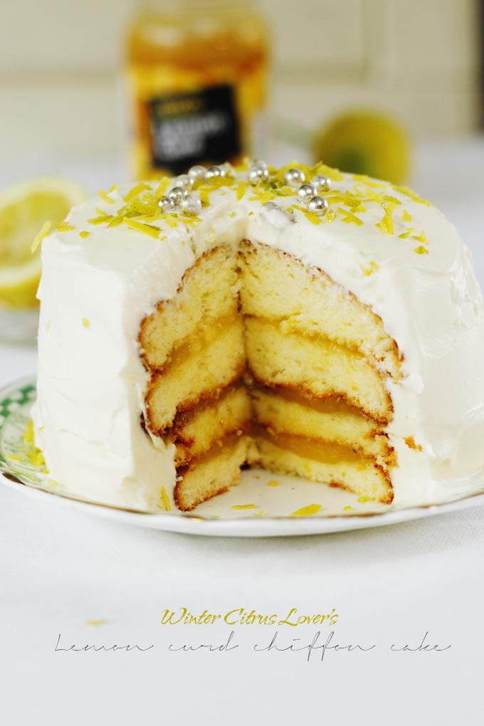 Lemon curd chiffon cake