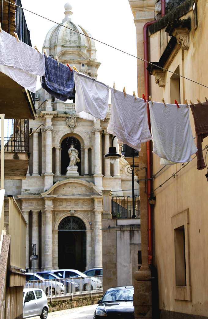 Baroque Church Scicli Sicily with washing line