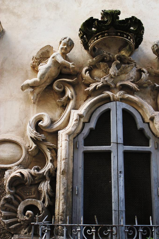 Baroque window detail Scicli Sicily