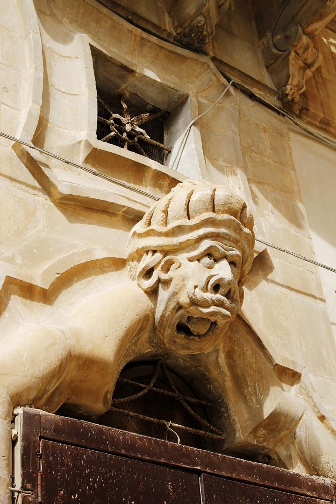 baroque head on Palazzo Beneventano Scicli Sicily