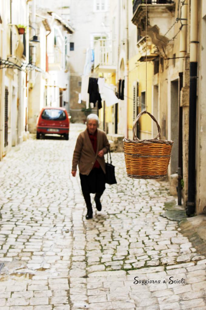 Scicli, Sicily, an alley scene