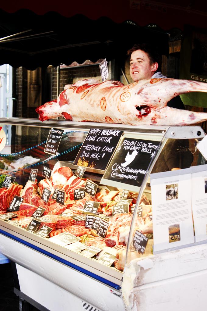 Butcher stall at Borough Market, London