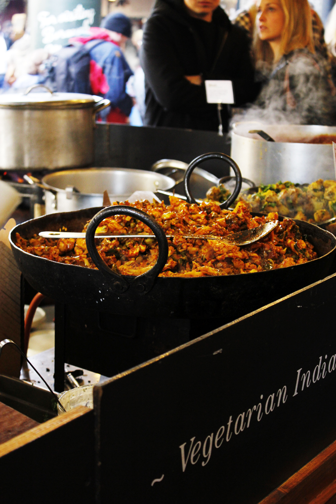 Indian Vegetarian food stall at Borough Market, Southwark, London