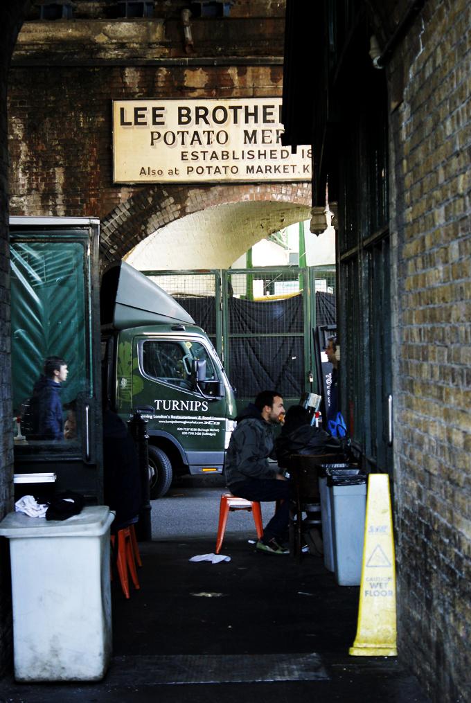 Borough Market, London, view under the arches