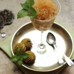 Mint tea and peach granita